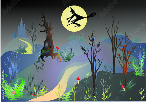 Halloween in magic forest
