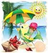 Cartoon Fish with Ice Cream on Exotic Beach-Vector