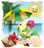 Cartoon Fish with Ice Cream on Exotic Beach-Vector