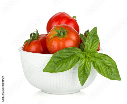 Ripe tomatoes and basil