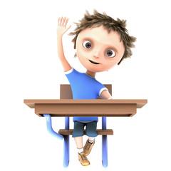 cg boy with hand raised
