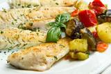 filetti di pesce con verdure