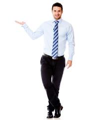 Businessman displaying something