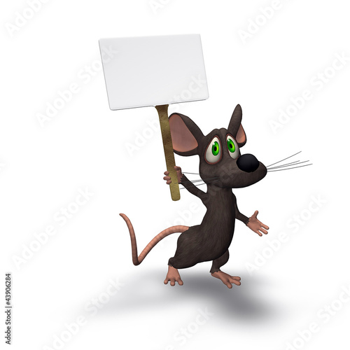 3D Cartoon Mouse Holding a Sign