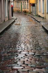 Wet street in Tallinn