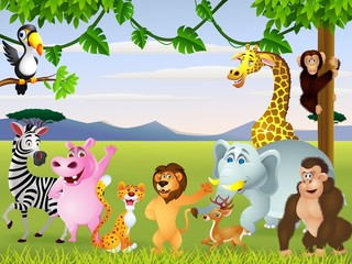 Funny safari animal cartoon