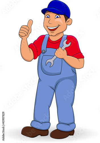 Mechanic man with thumb up