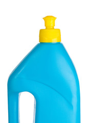 Blue plastic bottle isolated on a white background