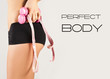 Woman measuring perfect body,  concept