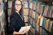 brunette woman at library