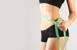 Woman measuring perfect body, concept