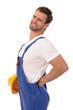 Junger Handwerker mit Rückenschmerzen