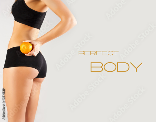Concept of a healthy body. Beautiful bottom, fruit - 43910829