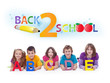 Kids with alphabet letters  - back to school concept