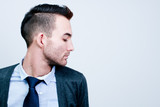 closeup portrait of handsome young adult man - side view profile poster
