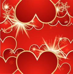 Valentine's day vector background with hearts and snow