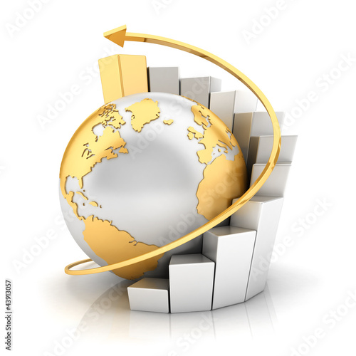 3d business earth with bar chart