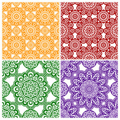 A set of abstract flower ornaments