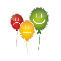 Positive, neutrale, negative Bewertung auf Ballons