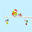 Green Bird Skiing Pulling Sleigh With Gift On Tree