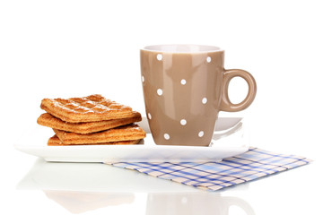 Cup of tea and cookies isolated on white