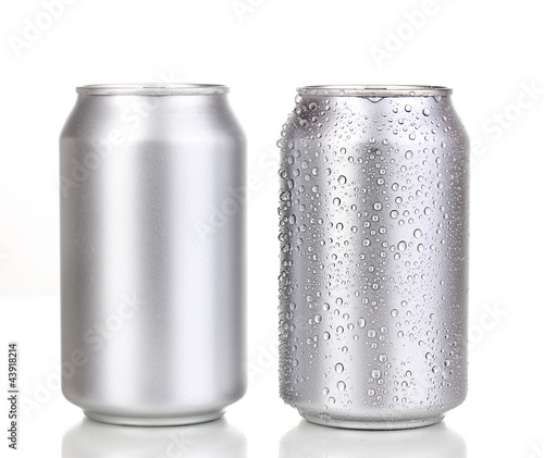 Aluminium Alcohol aluminum cans isolated on white