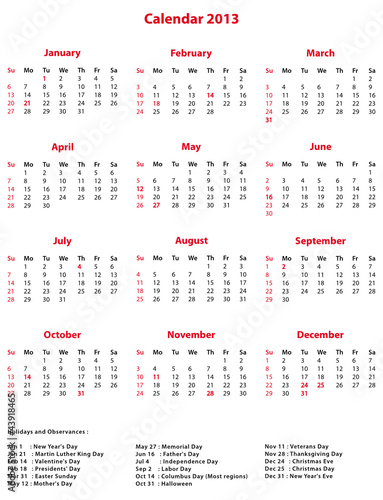Calendar Monthly Observances : Quot simple office calendar with holidays and observances
