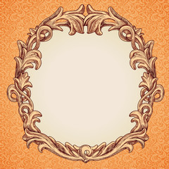 Vector round frame in vintage style