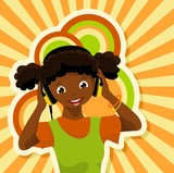 african girl with headphones