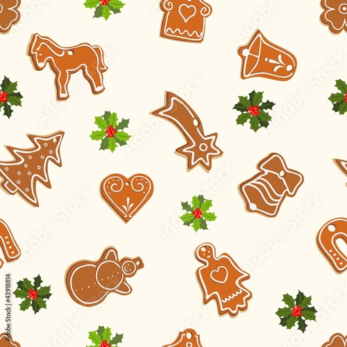 christmas seamless pattern with gingerbread