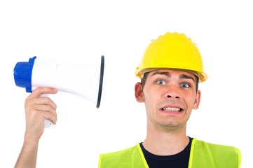 Isolated worker with helmet