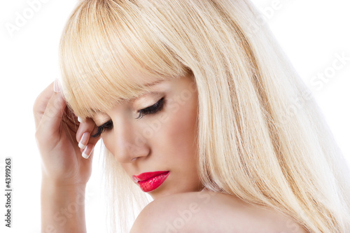 Beautiful blonde woman with red lips