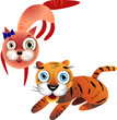 Funny cartoon cat and the baby tiger