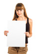friendly teen girl presenting blank poster, half length, isolate