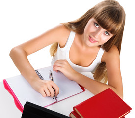 cute teen girl homeschooling with books and tablet isolated over