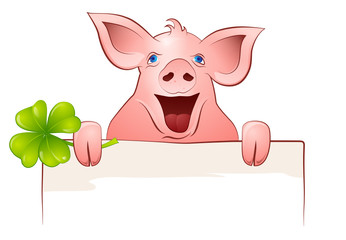 pig with clover
