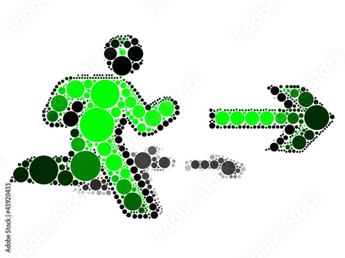 Running human silhouette with a direction arrow