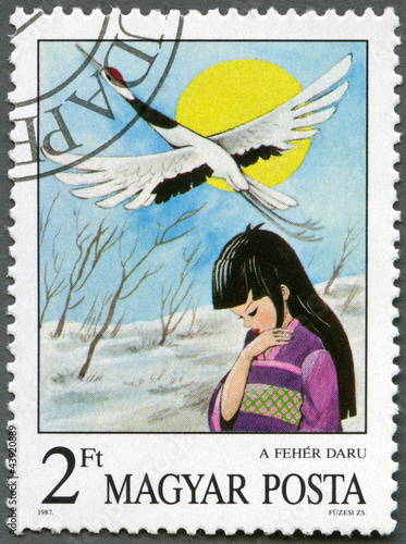 HUNGARY - 1987: shows the White Crane, from Japan