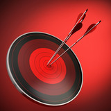 bull's eye, red target and arrows. Strategy