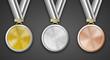 Medaillen Set auf schwarzem Hintergrund