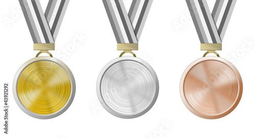 Medaillen Set isoliert Gold Silber Bronze