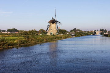 Holland windmill in Kinderdijk