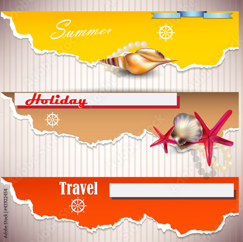 Set of Holiday banners with shells and place for text. Torn pape