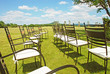 Chairs prepared for a wedding ceremony