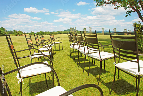 Chairs prepared for a wedding ceremony - 43922639