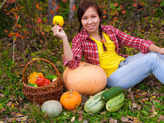 Girl with vegetables
