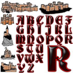 Gothic castle abc alphabet collection