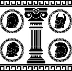 ancient helmets. stencil