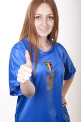 Young beautiful female italy fan
