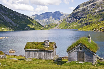 Cabin and lake